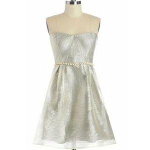 Minuet Silver Striped Strapless w/Pearl Dress S